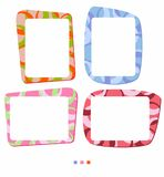 Vector colorful frames for photo or illustration. Decorative frame in shades of orange blue green and pink. Isolated vector on the white background - just place vector illustration