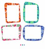 Vector colorful frames for photo or illustration. Decorative frame in shades of orange, green, blue and ruby. Isolated vector on the white background - nnjust royalty free illustration