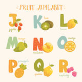 Vector colorful fruit alphabet. Royalty Free Stock Photo