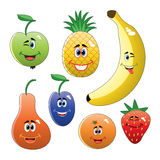 vector colorful funny fruits Stock Photo
