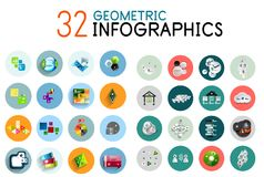 Vector colorful geometrical info banners Stock Photo
