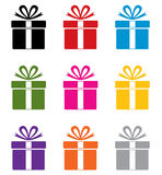 Vector colorful gift box symbols Royalty Free Stock Photography