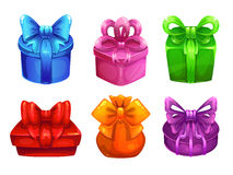 Vector colorful gift boxes with big bows Royalty Free Stock Images