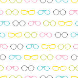 Vector colorful glasses accessories stripes seamless pattern. Stock Photo