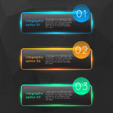 Vector colorful glowing glass infographics. Options banners collection set with polygonal background for games presentations, ui tablets, smart phones Stock Photos