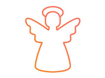 Vector colorful gradient pink to orange Christmas angel line ico. Isolated  colorful gradient pink to orange Christmas angel line icon Royalty Free Stock Photography