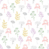Vector Colorful Growing Plants Line Art Seamless Royalty Free Stock Photo