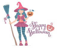 Vector colorful halloween illustration of witch character Royalty Free Stock Photos