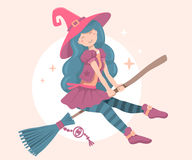 Vector colorful halloween illustration of witch character Royalty Free Stock Image