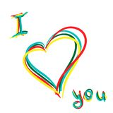 Vector colorful hand drawing I love you. Good for greetings and postcards Royalty Free Stock Photography
