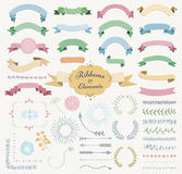 Vector Colorful Hand Drawn Design Elements and Ribbon Set. Set of Hand Drawn Colorful Doodle Sketched Rustic Decorative Wedding Design Elements and Ribbons Stock Photos
