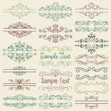Vector Colorful Hand Drawn Dividers, Frames. Set of Hand Drawn Colorful Doodle Design Elements. Decorative Artistic Floral Dividers, Borders, Swirls, Scrolls Royalty Free Stock Photo