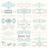 Vector Colorful Hand Drawn Dividers, Frames, Swirls. Set of Hand Drawn Colorful Doodle Design Elements. Decorative Floral Dividers, Borders, Swirls, Scrolls Royalty Free Stock Images