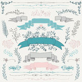 Vector Colorful Hand Drawn Floral Design Elements Royalty Free Stock Image