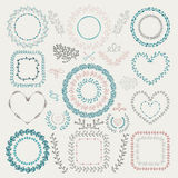 Vector Colorful Hand Drawn Floral Frames, Wreaths Royalty Free Stock Image
