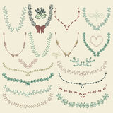Vector Colorful Hand Drawn Floral Wreaths, Laurels Stock Image
