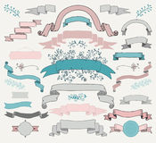 Vector Colorful Hand Drawn Ribbons, Banners Royalty Free Stock Photo
