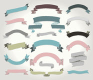 Vector Colorful Hand Drawn Ribbons, Banners Set Royalty Free Stock Images