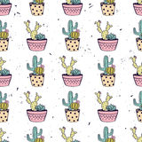 Vector colorful hand drawn seamless pattern with cactuses and succulents Royalty Free Stock Image