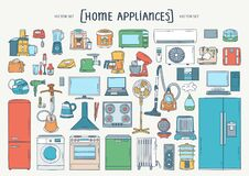 Free Vector Colorful Hand Drawn Set On The Theme Of Home Appliances. Isolated Cartoon Doodles Of Electronics. Line Art Stock Images - 187199724