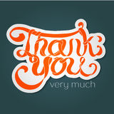 Vector colorful hand lettering Thank you text with white stroke Royalty Free Stock Images