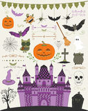 Vector Colorful Hand Sketched Doodle Halloween Stock Photos