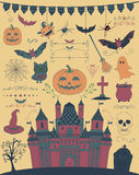Vector Colorful Hand Sketched Doodle Halloween Icons Royalty Free Stock Photo