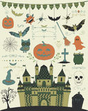 Vector Colorful Hand Sketched Doodle Halloween Icons Royalty Free Stock Images