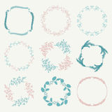 Vector Colorful Hand Sketched Floral Frames Royalty Free Stock Photo