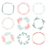 Vector Colorful Hand Sketched Floral Frames Royalty Free Stock Photos