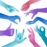 Vector Colorful Hands Royalty Free Stock Photography