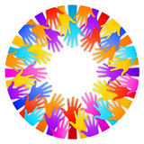 Vector Colorful Hands Frame. A circular frame composed by colorful hands silhouettes on white background Royalty Free Stock Images