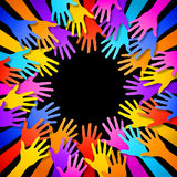 Vector Colorful Hands Frame Stock Photography