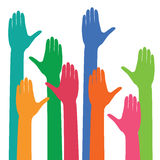 Vector colorful hands up. Stock Image