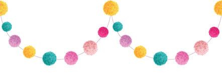 Vector Colorful Happy Birthday Party Pom Poms Set On A String Horizontal Seamless Repeat Border Pattern. Great for Royalty Free Stock Photos