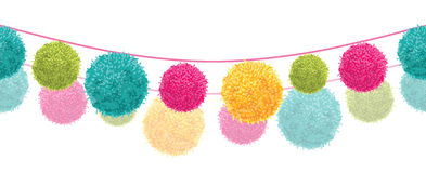 Vector Colorful Happy Birthday Party Pom Poms Set On Two Strings Horizontal Seamless Repeat Border Pattern. Great for Royalty Free Stock Images