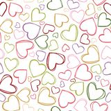 Vector colorful heart outlines repeat pattern. Suitable for gift wrap, textile and wallpaper royalty free illustration