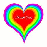 Vector colorful heart with text thank you isolated on white backround stock illustration