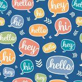Vector Colorful Hello Speech Bubble Seamless Pattern royalty free illustration