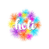 Vector colorful holiday background with hand drawn word holi and fireworks. Vector colorful bright holiday background with hand drawn word holi and fireworks Royalty Free Stock Image