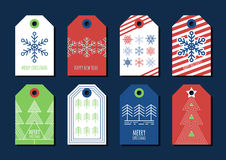 Vector colorful holiday gift tags and outline label set. Royalty Free Stock Images