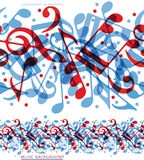 Vector colorful horizontal music canvas, seamless Stock Images