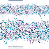 Vector colorful horizontal music canvas, seamless tape with stri. Ped musical notes on white background Stock Image