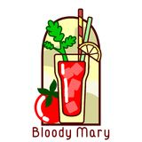 Cocktail bloody mary card. Vector colorful icon of cocktail Bloody Mary. The icon in a frame with a cocktail name. EPS10 Royalty Free Stock Image