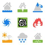 Icons set with risks and dangers from natural disasters Royalty Free Stock Image