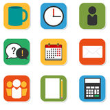 Vector colorful icons set: working days. Modern flat icons collection with daily office routine items. Square icons isolated on white backgroun Stock Images