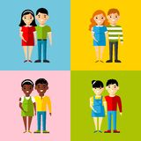 Vector colorful illustration of african american, asian, arab, european family. Vector colorful illustration of couple pregnant woman and her husband vector illustration
