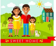 Vector colorful illustration of african, american family and house in flat style Stock Images