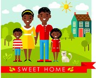 Vector colorful illustration of african, american family and house in flat style Royalty Free Stock Photo