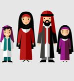 Vector colorful illustration of arab  family in national clothes. Traditional muslim parents with two children boy and girl Royalty Free Stock Images